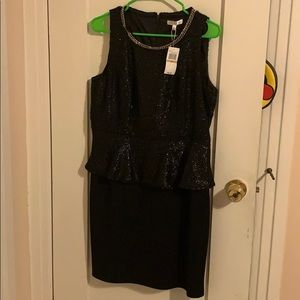 Spense Black Sparkly Peplum Evening Dress NWT